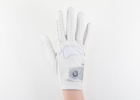 White Glitter Leather Gloves