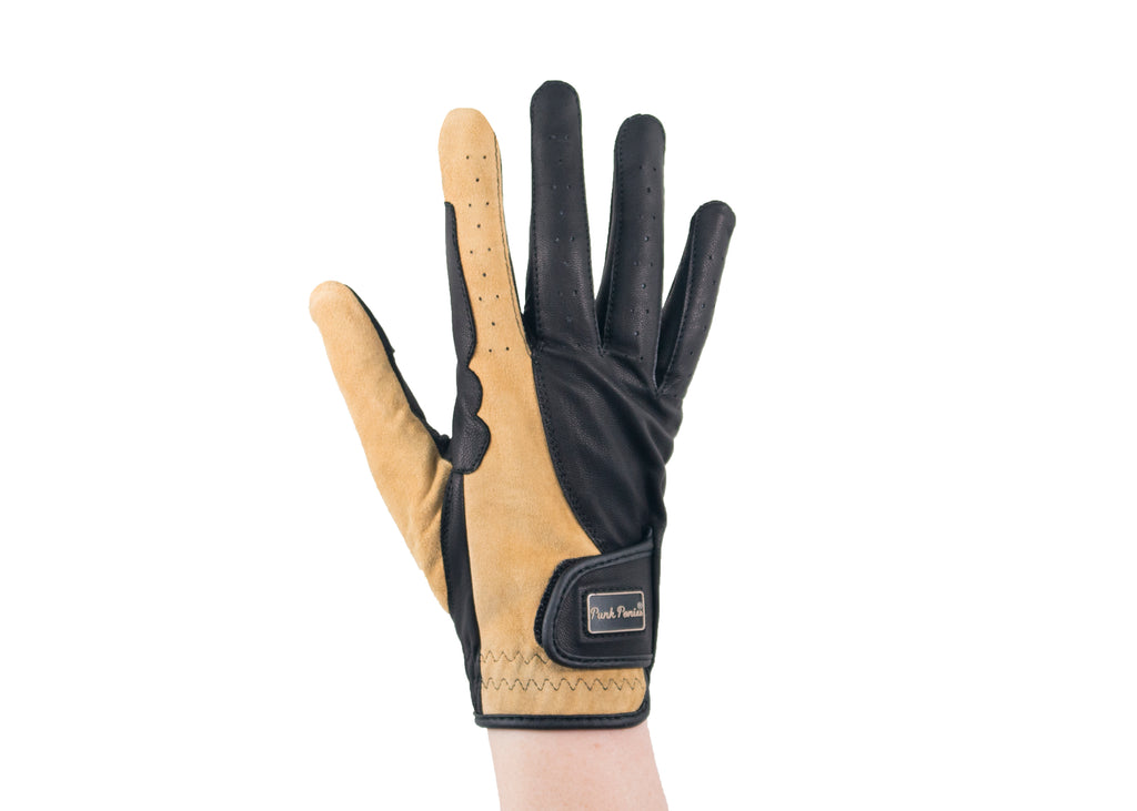 Beige Suede and Nappa Leather Gloves