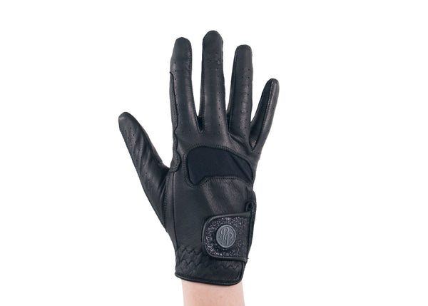 Black Glitter Leather Gloves