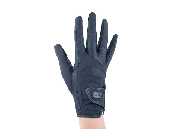 Navy Faux Leather Gloves