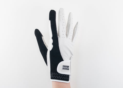 White Suede and Napa Leather Gloves
