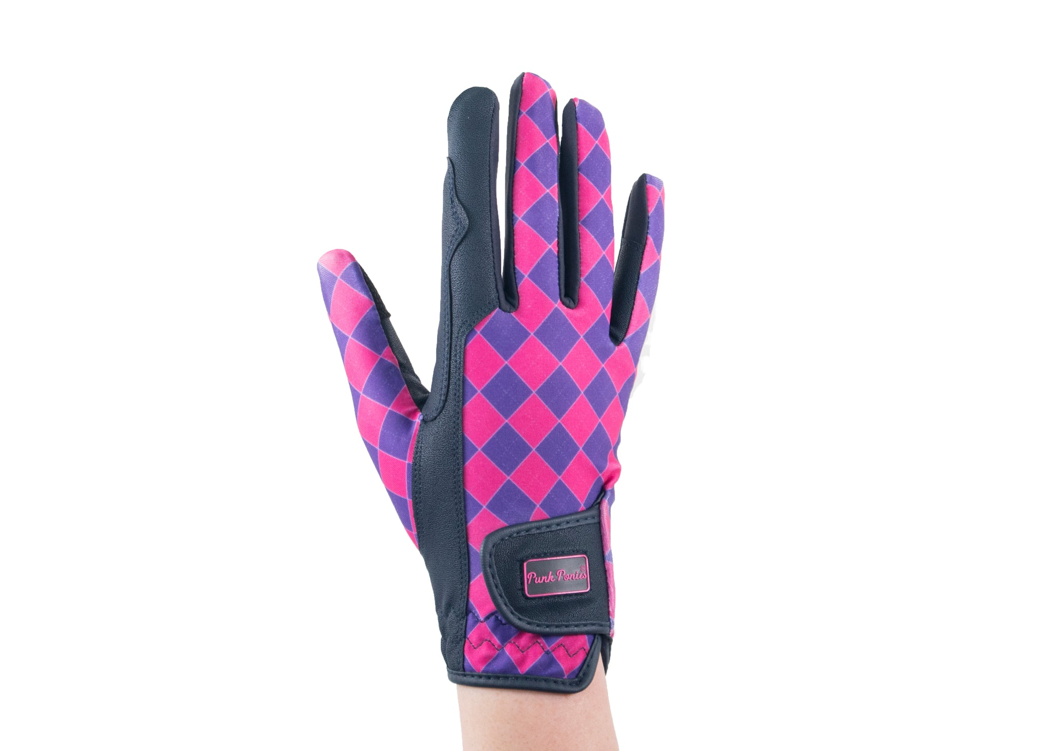 """Pink Checkerboard"" Touchscreen Friendly Gloves"