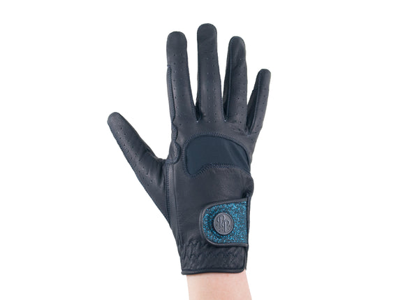 Navy Glitter Leather Gloves