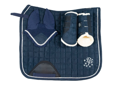 """Curacao"" Navy Suede Dressage Set"