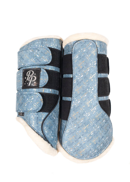 LE Paris Sky Blue Suede Dressage Pad