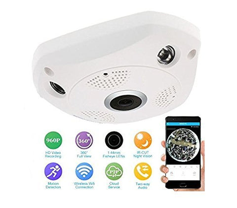 Bolt 960p Fisheye 360° Panoramic Wireless HD IP Wifi Camera CCTV indoor Security CCTV Camera Video Monitor (With SD Card Support) With Power Adapter