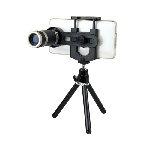 Bolt Zoomer 8X Optical Zoom Telescope Mobile Camera Lens Kit with Tripod and Adjustable Holder