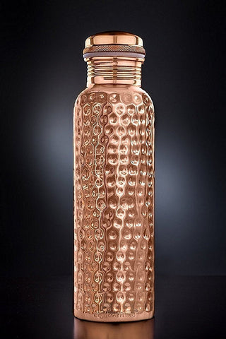 Nashware Pure Copper Hammered leak Proof Water Bottle - 900 ml