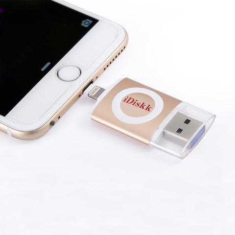Maxxlite iDiskk 64GB USB OTG Drive for iPhone, iPad and iPod. Apple MFI Certified, USB 3.0 and Lightning Connector (Gold)