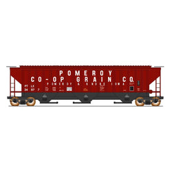 50' Double Boxcar - HO Intermountain #453108 4750 Cubic Foot Rib-Sided 3-Bay Hopper Pomeroy & Iowa