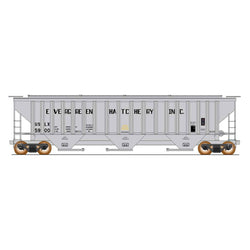 50' Double Boxcar - HO Intermountain #453109 4750 Cubic Foot Rib-Sided 3-Bay Hopper Evgrn Fish Hatchery