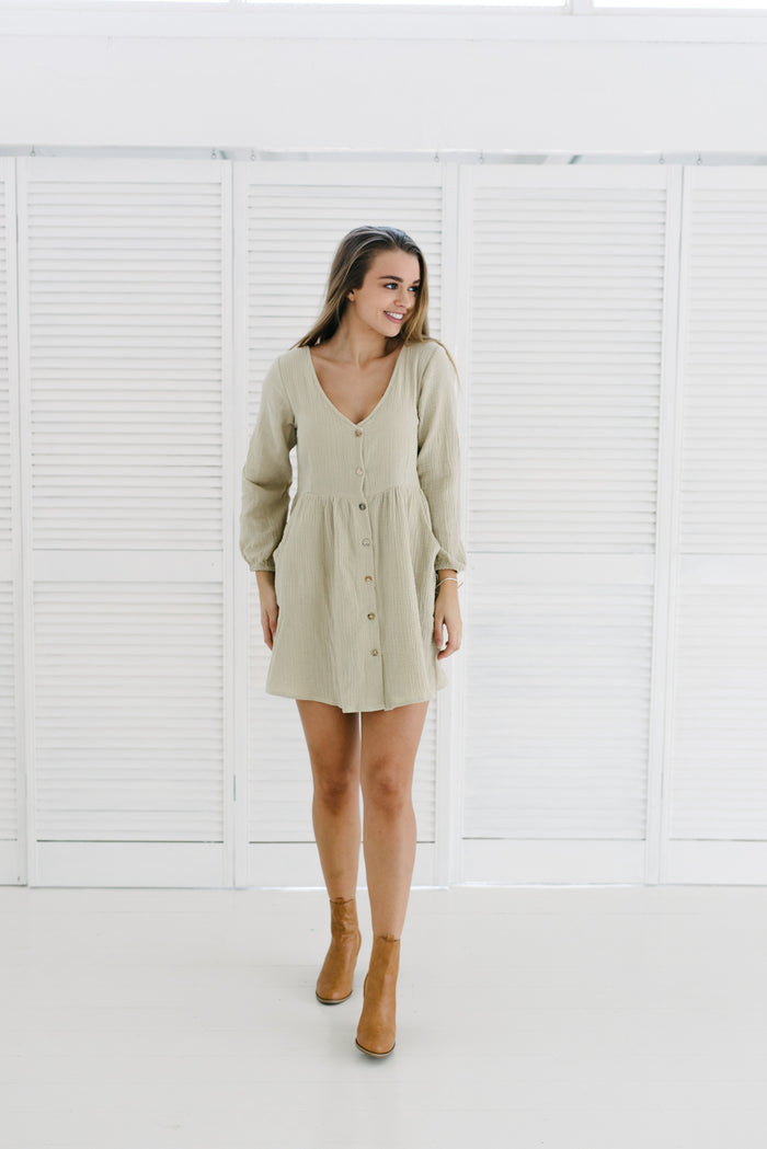 Long Sleeve Capri Dress | Natural|  | Betty Lane Womens Clothing Victoria