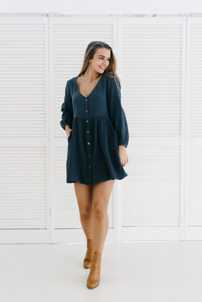 Long Sleeve Capri Dress | Navy|  | Betty Lane Womens Clothing Victoria