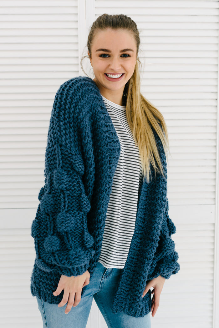 Bubble Sleeve Cardigan - Navy|  | Betty Lane Womens Clothing Victoria