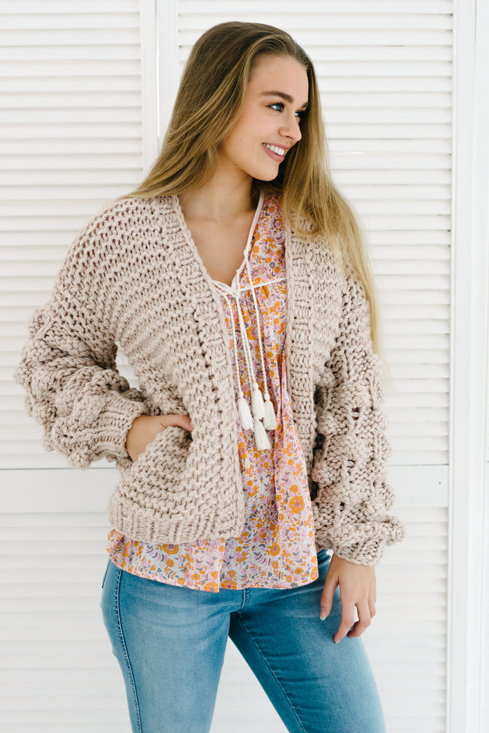 Bubble Sleeve Cardigan - Sand|  | Betty Lane Womens Clothing Victoria