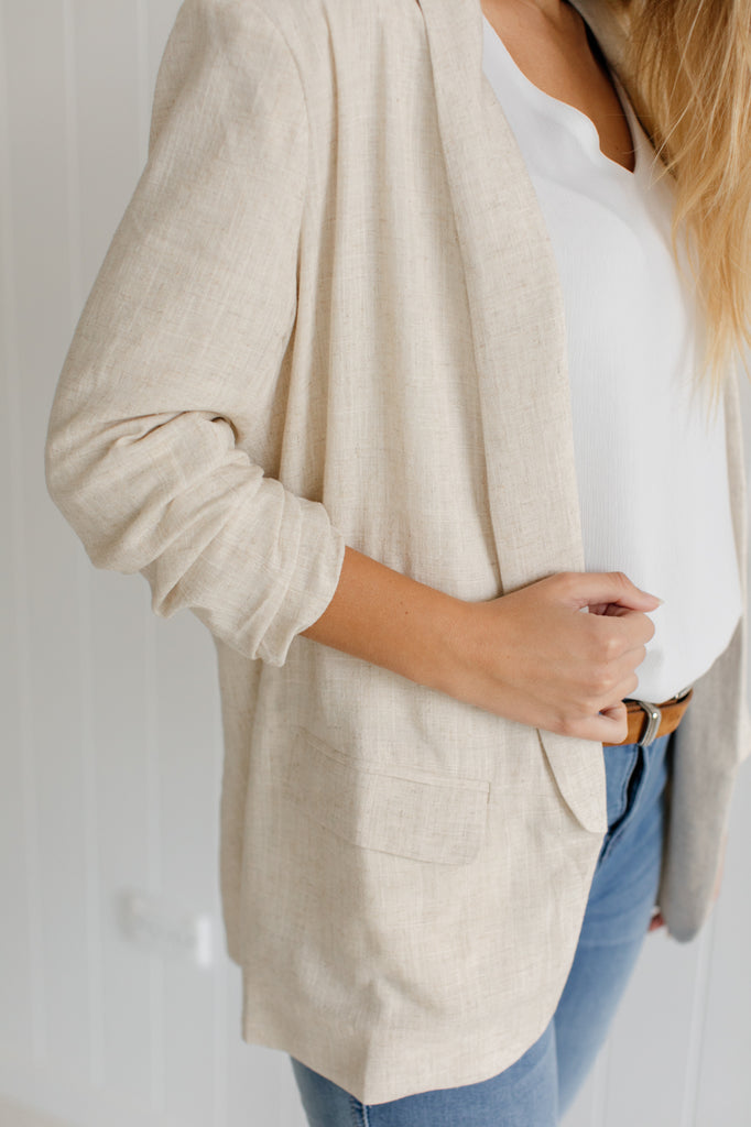 Oatmeal Linen Blazer - Betty Lane