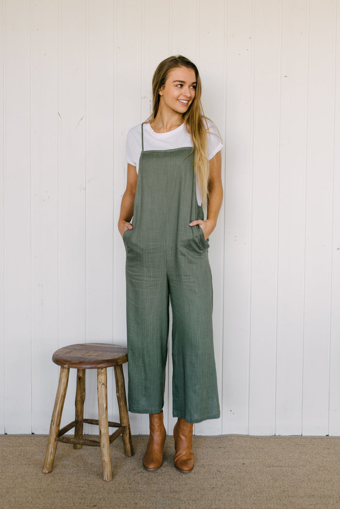 The Wanderer Overalls - Sage|  | Betty Lane Womens Clothing Victoria