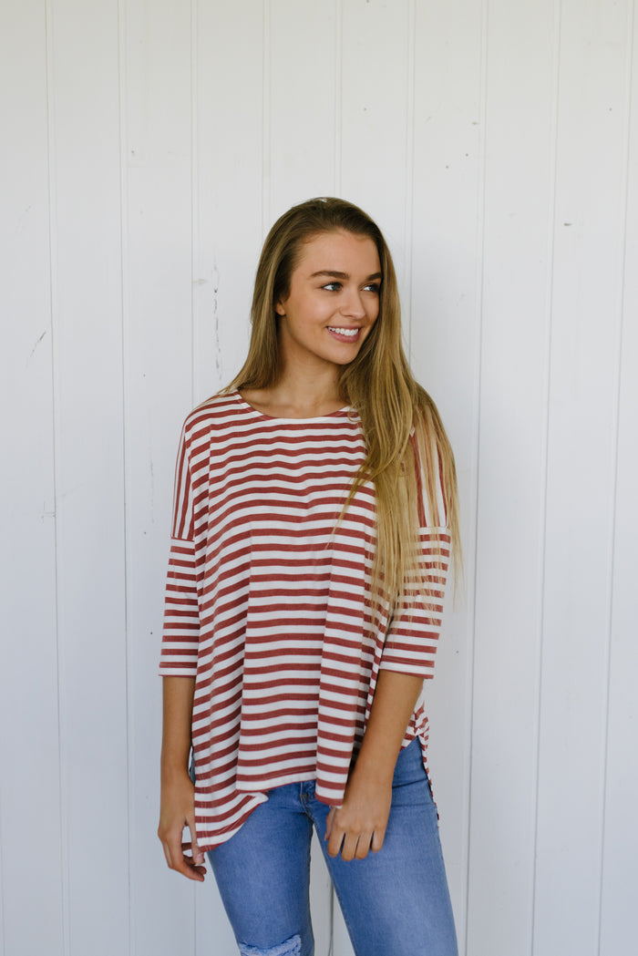 Katie Top - Rust Stripe| Basics | Betty Lane Womens Clothing Victoria