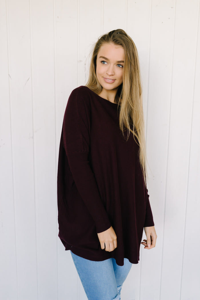 Blake Knit - Burgundy| Knitwear | Betty Lane Womens Clothing Victoria