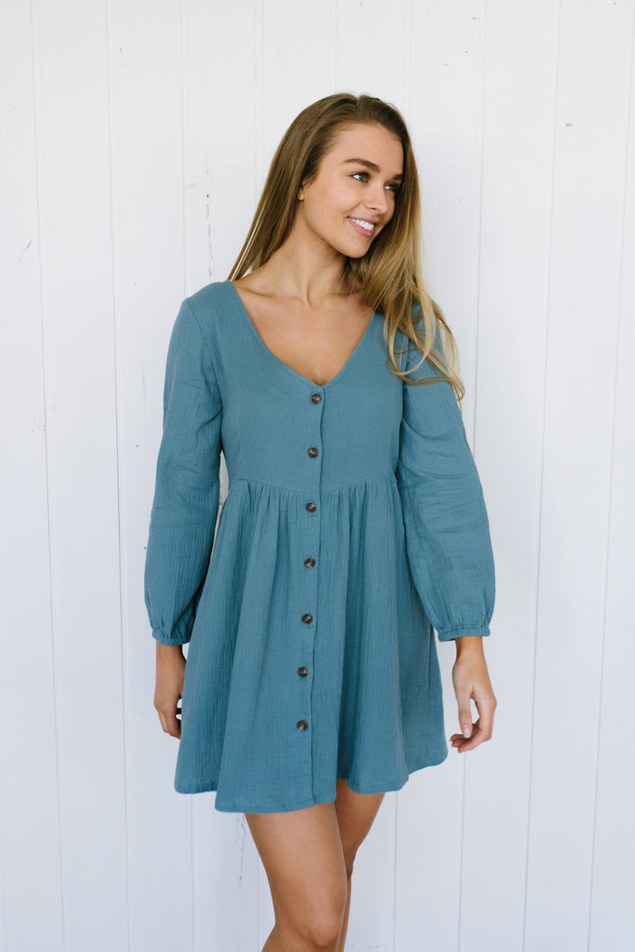Long Sleeve Capri Dress | Teal|  | Betty Lane Womens Clothing Victoria