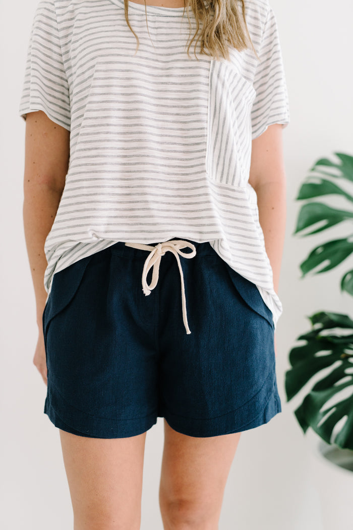 Ramie Shorts | Navy| summer | Betty Lane Womens Clothing Victoria