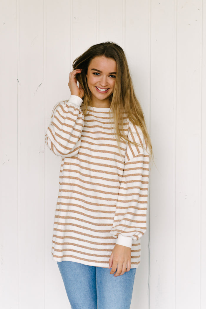 Longline Jess Jumper - Tan Stripe|  | Betty Lane Womens Clothing Victoria