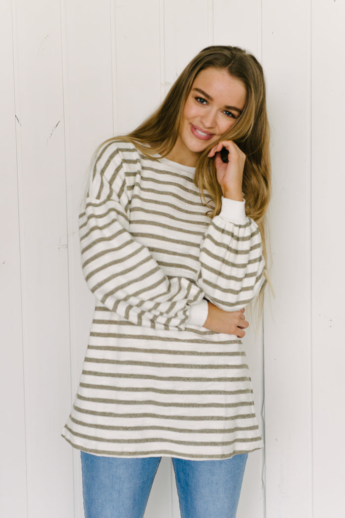Longline Jess Jumper - Khaki Stripe|  | Betty Lane Womens Clothing Victoria
