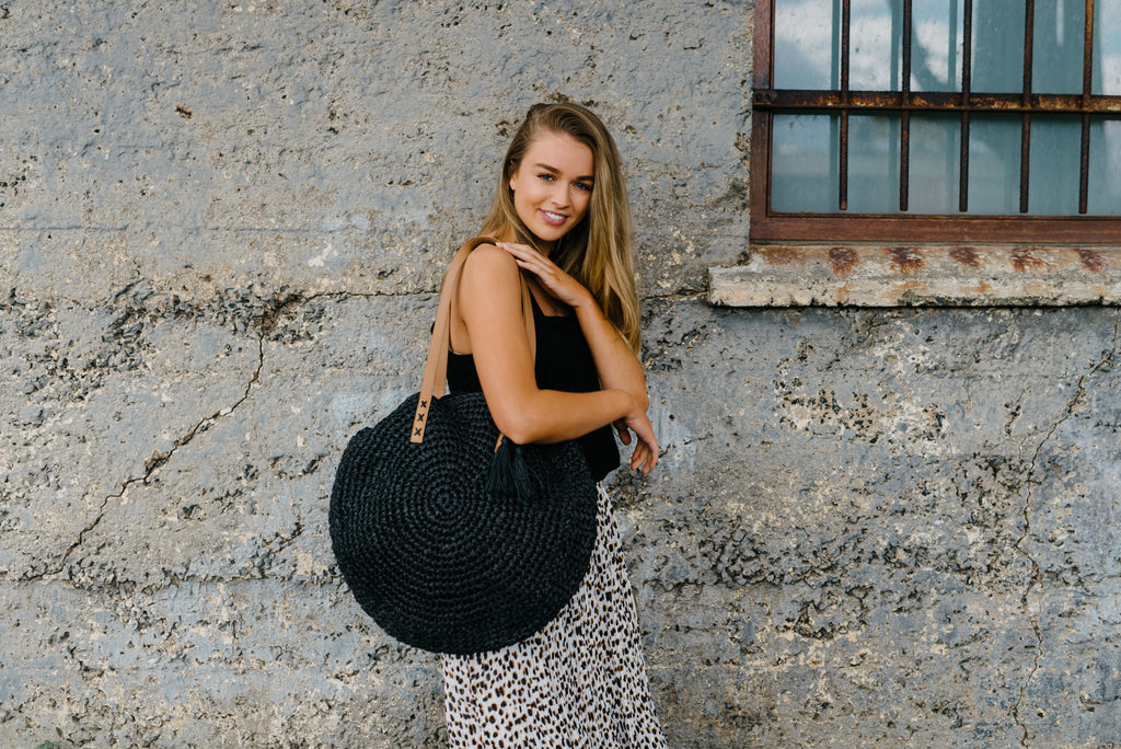 Drifter Straw Bag - Black|  | Betty Lane Womens Clothing Victoria