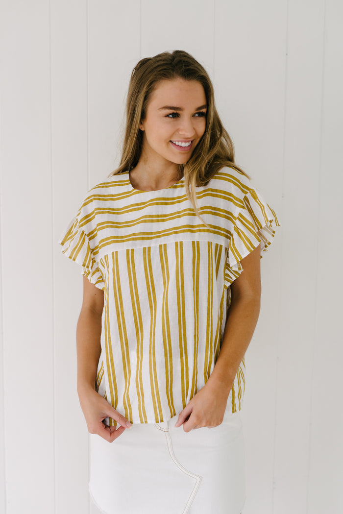 Nina Ruffle Top - Mustard| Summer | Betty Lane Womens Clothing Victoria