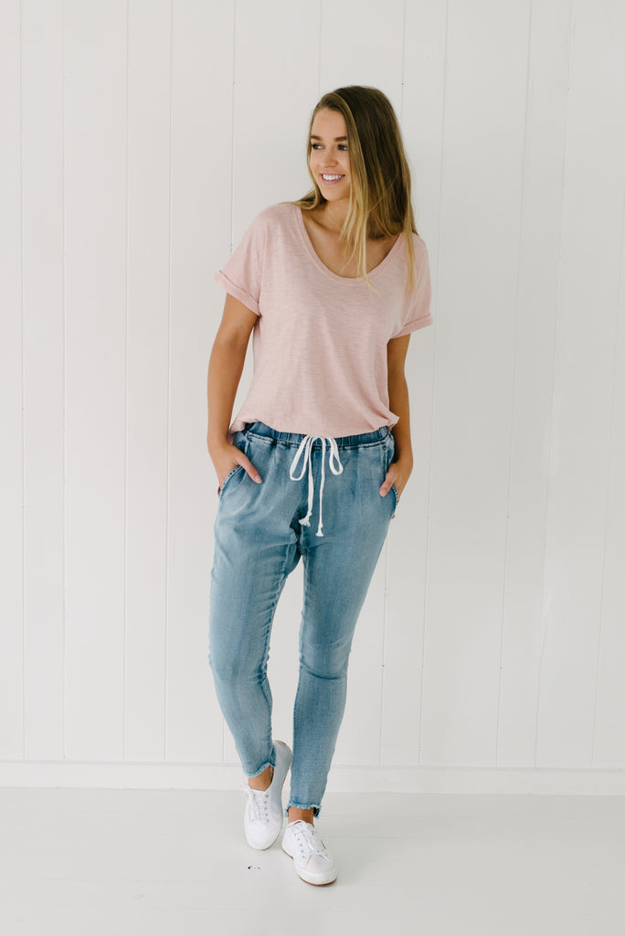 Denim Jordan Joggers| Pants | Betty Lane Womens Clothing Victoria