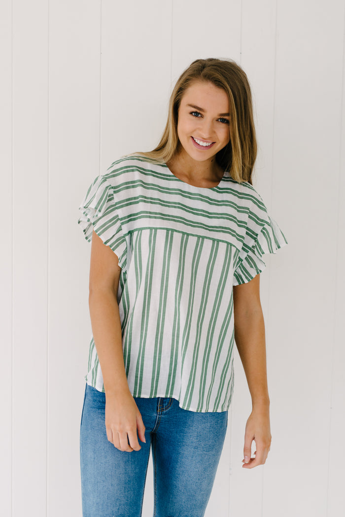 Nina Ruffle Top - Sage| Summer | Betty Lane Womens Clothing Victoria