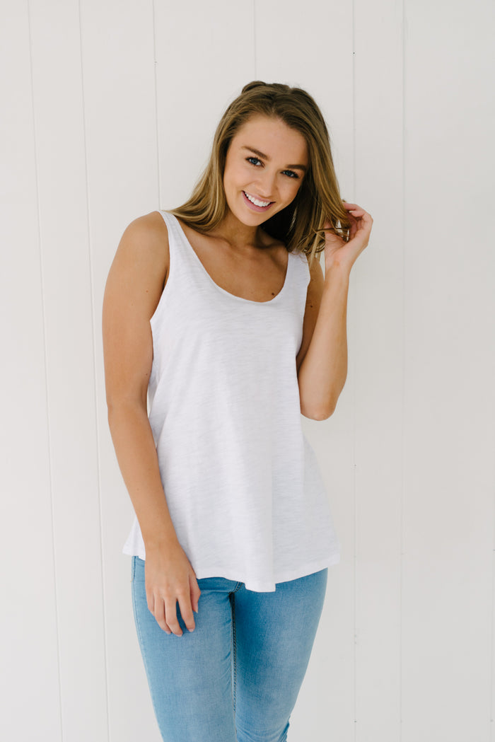 Everyday Tank - White|  | Betty Lane Womens Clothing Victoria