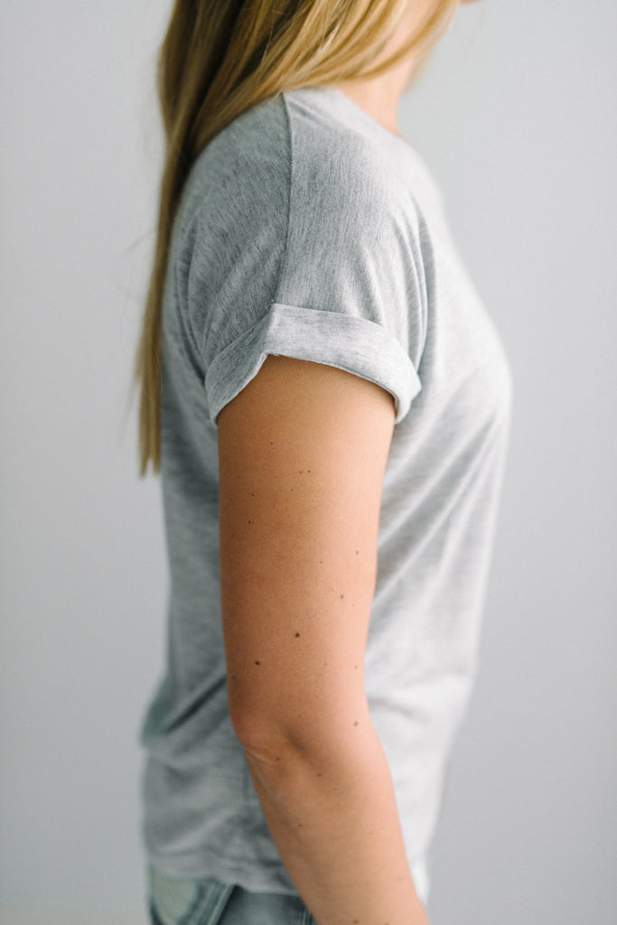 Roll Sleeve Tee | Grey|  | Betty Lane Womens Clothing Victoria