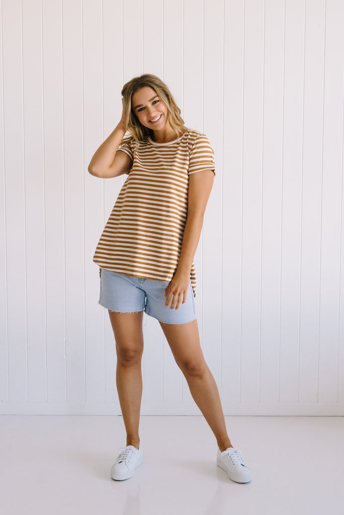 Mocha Striped Tee | Betty Lane Tammy Tee