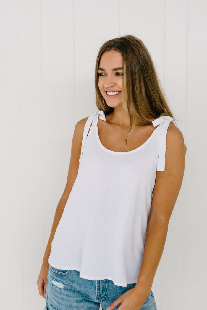 Womens Tie Up Cami White