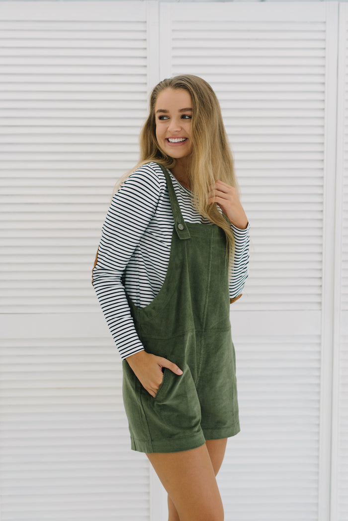 Fleetwood Cord Overalls - Khaki|  | Betty Lane Womens Clothing Victoria