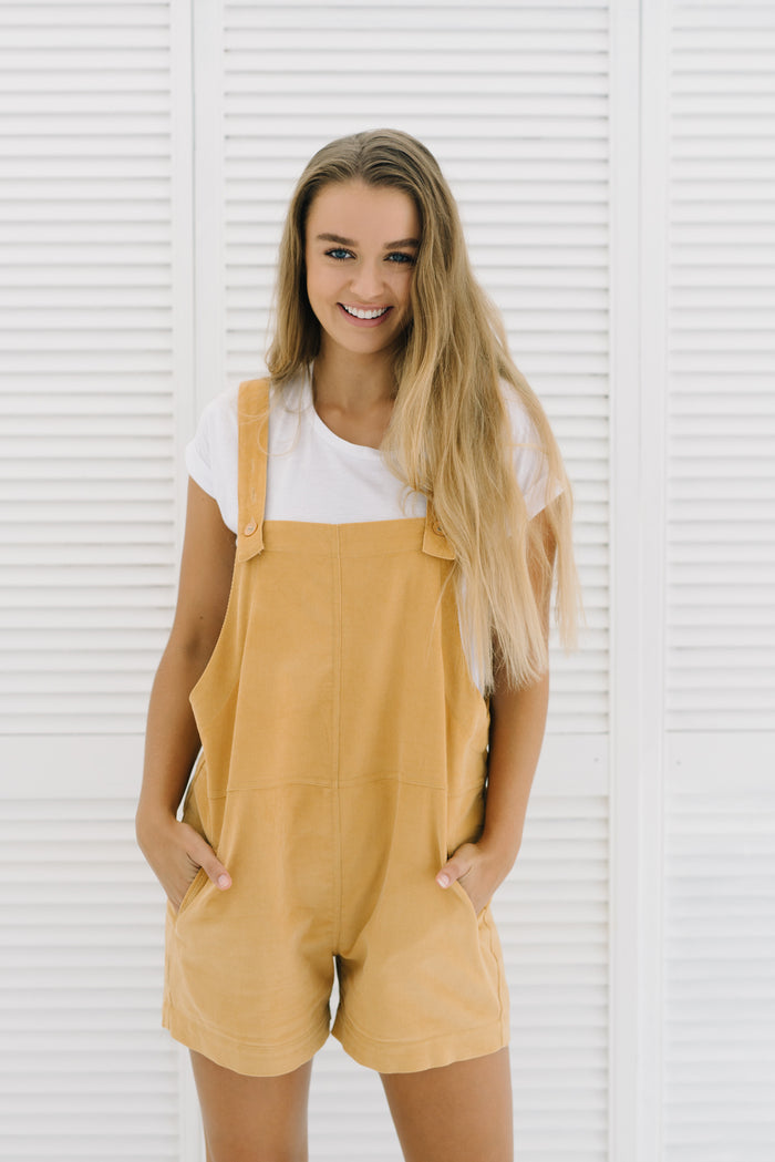 Fleetwood Cord Overalls | Mustard|  | Betty Lane Womens Clothing Victoria