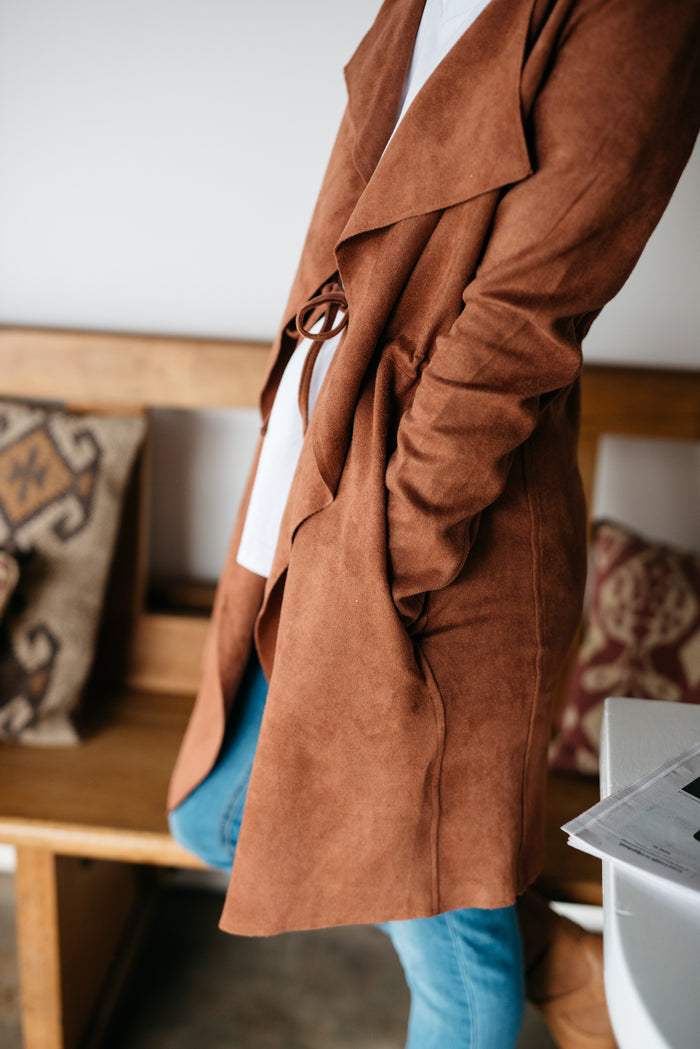 Suede Jacket | Betty Lane | Long Tan Jacket