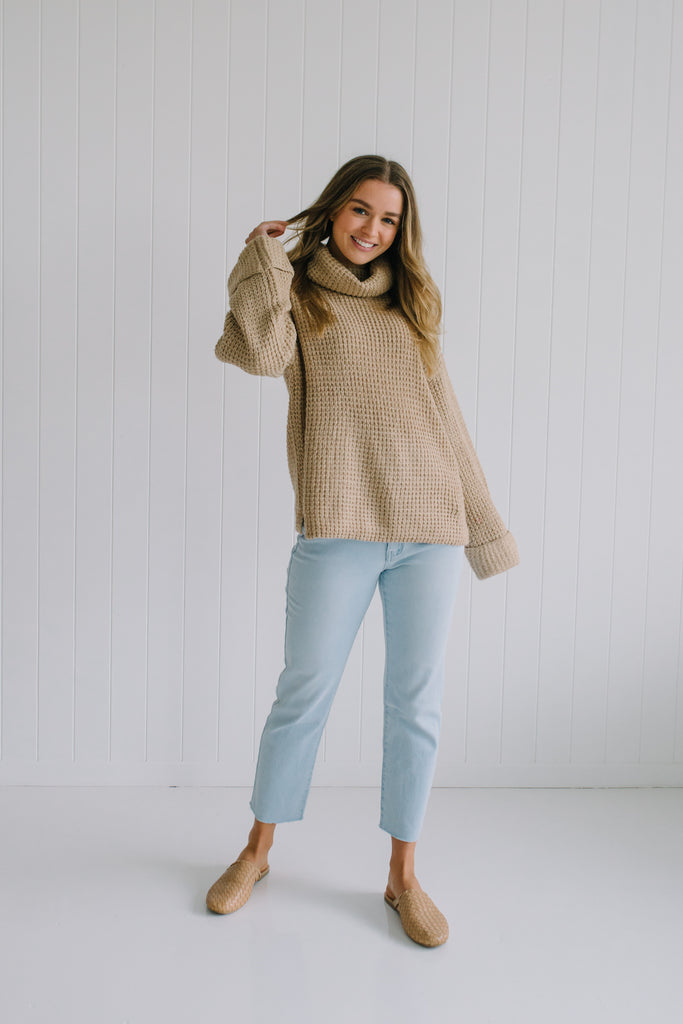 Polly Waffle Knit - Sand