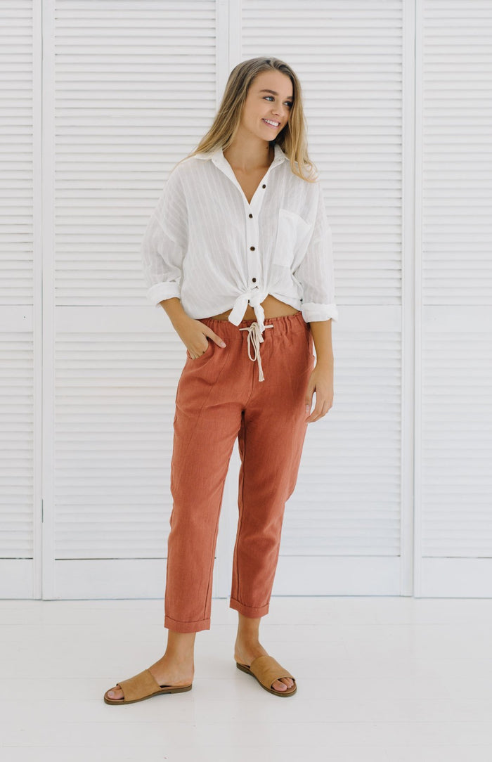 Ramie Pants | Rust| Pants | Betty Lane Womens Clothing Victoria