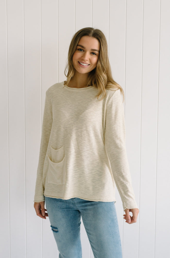 Cream linen long sleeve tee