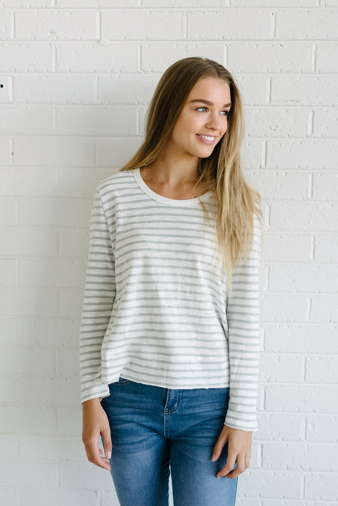 Women's cotton striped tee