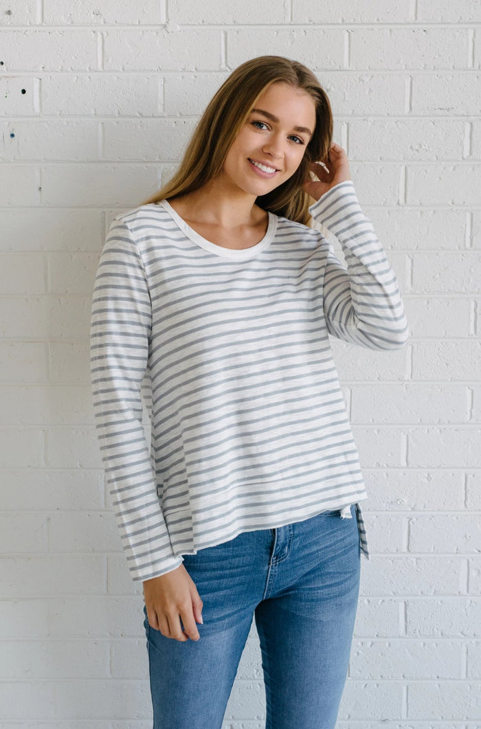 Women's cotton striped long sleeve tee