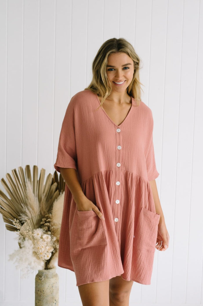 Dusty Pink Cotton Tunic Dress Betty Lane Willa Oversized Dress