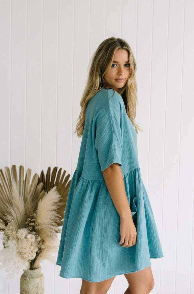 Blue Cotton Tunic Dress Betty Lane Willa Oversized Dress