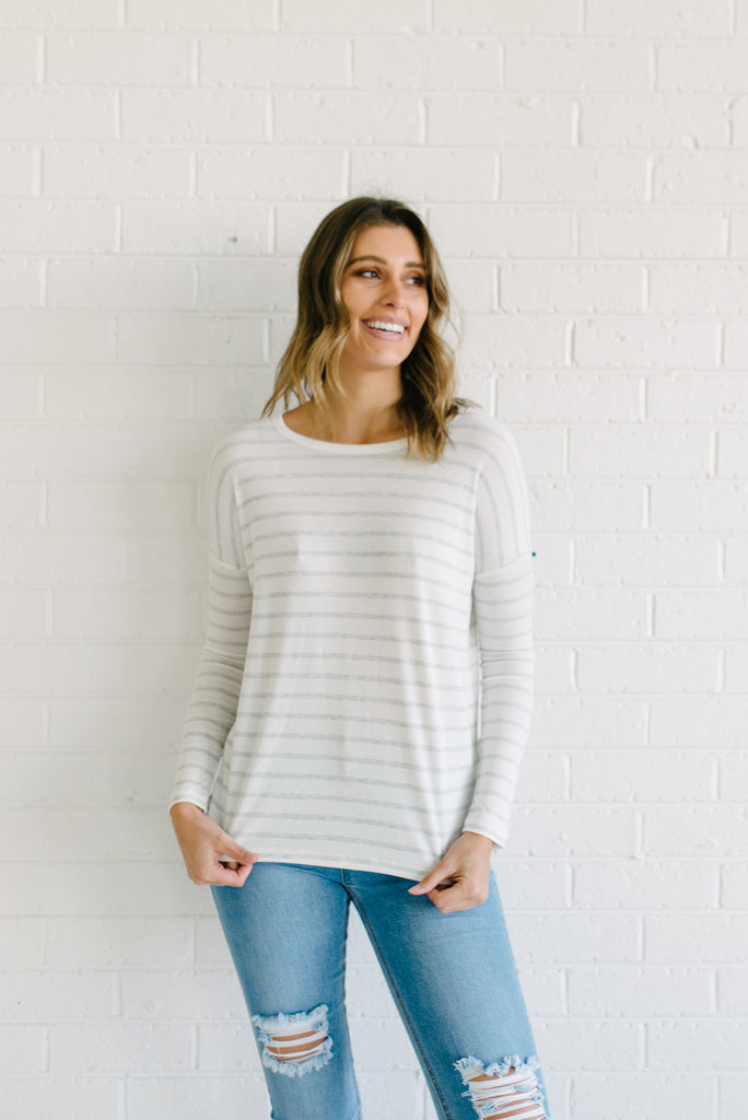 Lucy Ribbed Top  - Grey Stripe - Betty Lane
