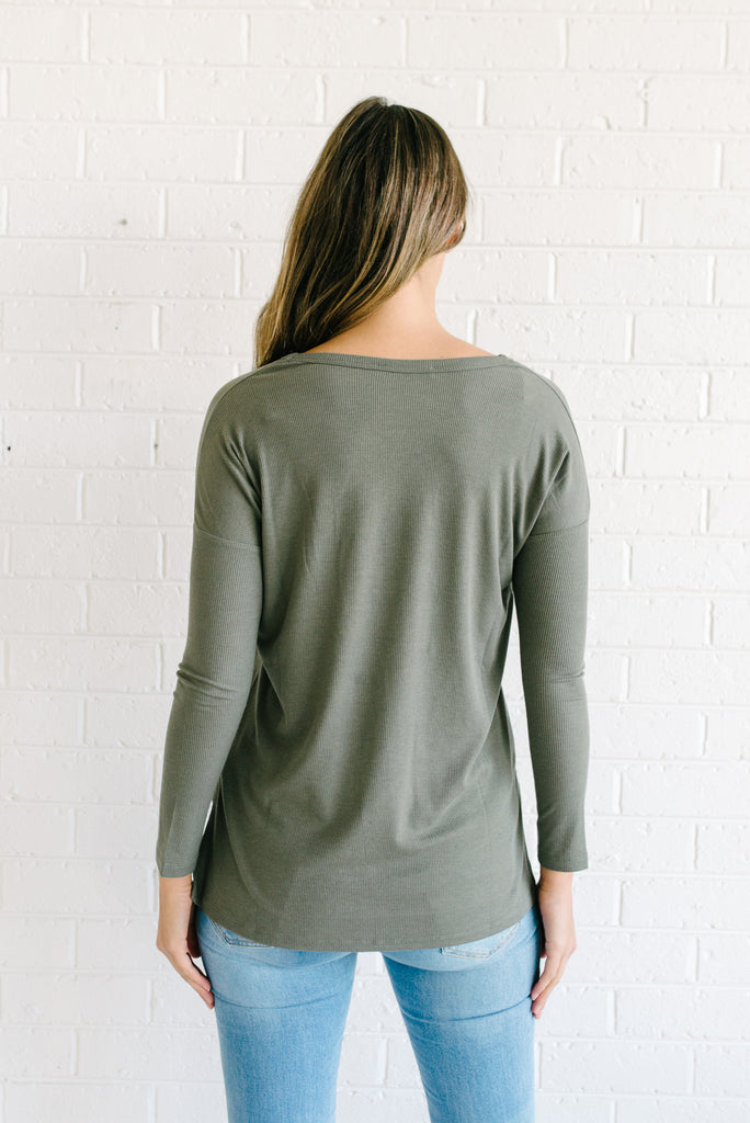 Lucy Ribbed Top  - Khaki