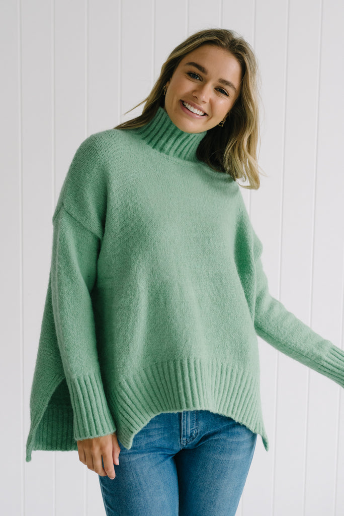 Green Turtle Knit Betty Lane Long Weekend Lime Green Knit