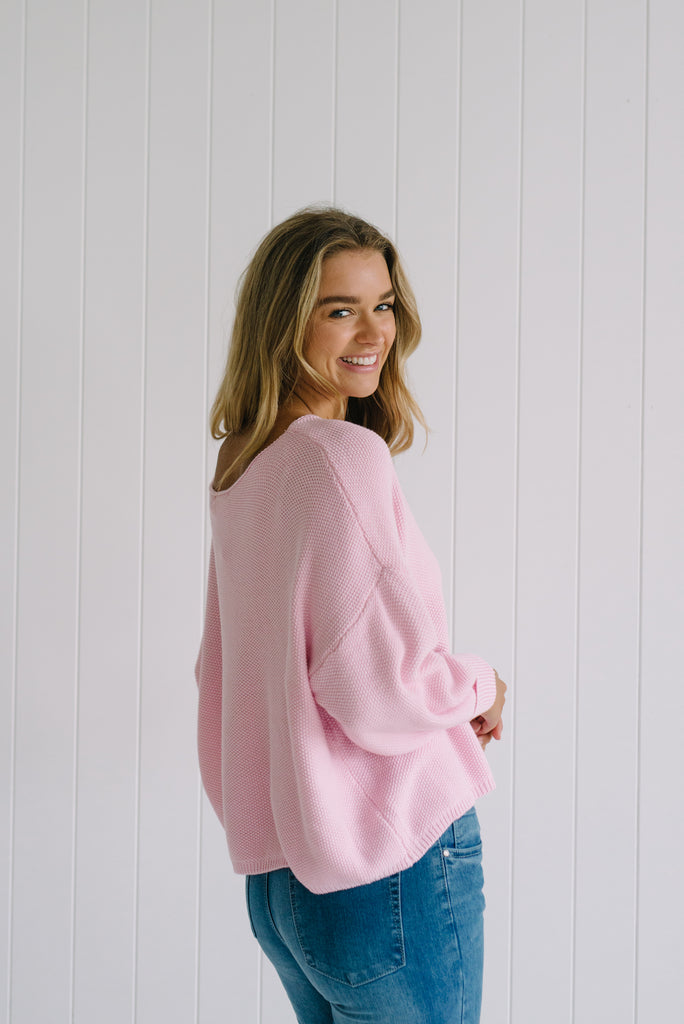 Betty Lane Pink Relaxed Knit Sweater