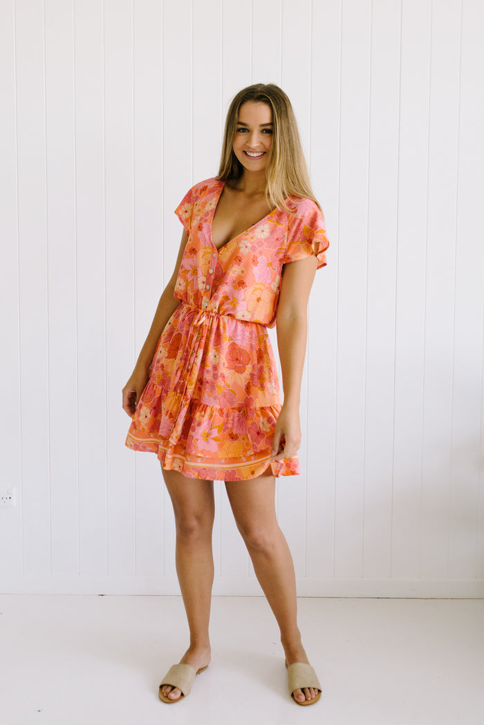 Women's coral boho mini dress